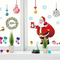 Magasin de détail Boutique De Noël Autocollants Arbre Père Noël Stickers Muraux Salon Amovible Transparent PVC Xmas autocollant home wall decor Stickers Muraux