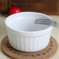 Wholesale Pudding Set - Wholesale- set of 4 White ceramic ramekin baking bowl pudding bowl cup baking cup oven souffle
