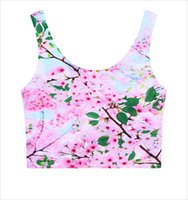 Wholesale Cherry Crops - FG1509 Summer Fashion women Tank tops Sexy crop tops Cherry blossoms clothing Slim bottoming vest free shipping