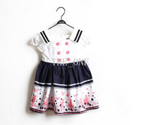 Wholesale Double Breast Girl Dress - baby girl puff sleeve preppy navy dress florals print pleated dress children double breasted dress sleeveless one-piece dress with ruffles