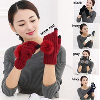 Wholesale wholesale wool gloves for women - Fashion Five Fingers Gloves With Big Hair Balls Touch Screen Mittens For Women Keep Warm Glove Balck 9 5nqa B