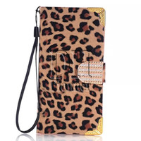 Wholesale Leopard Diamond Case Iphone - PU Leather Leopard Grain Luxury Diamond Rhinestones Wallet Cover For iPhone 6 6s Plus 4 5 Samsung Galaxy S6 Edge Note 5 300Pcs
