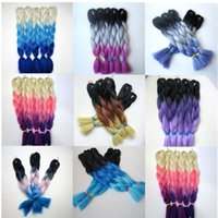 Wholesale three colors ombre hair resale online - Kanekalon Synthetic Jumbo Braiding Hair inch g Black Gray Light Purple Ombre three tone colors Hair Extensions colors optional