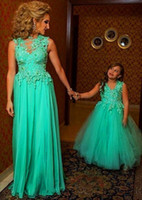 Wholesale Pictures Children Dresses - 2015 Parent-Child Dress Mother And Daughter Formal Party Dress A Line And V Neck With Sash Daughter Birthday Party