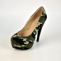 Wholesale Cheap Ladies High Heel Shoes - Camouflage Womens Pumps 2016 Cheap Modest Custom Made Ladies Sandals Sexy High Thin Heels Slip On Fashion Parry Shoes Plus Size Shoes