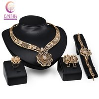 Wholesale africa flowers - Fashion Women 18K Gold Plated Crystal Flower Africa Dubai Wedding Party Necklace Bracelet Earring Ring Jewelry Set