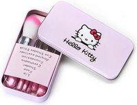 Wholesale Hello Set - Drop Price 2015 Brand Hello Kitty 7 Pcs Mini Makeup Brush Set Pink Cosmetic Kit de pinceis de maquiagem makeup Brushes Kit PY233