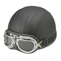 vespa шлем vintage оптовых-Горячие продать коричневый синтетическая кожа старинные мотоцикл мотоцикл Vespa открытым лицом половина мотороллер шлемы козырек очки