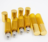 ölflaschen goldkappe großhandel-5ml ROLLE AUF GLASFLASCHE Bernsteinbraun Fragrances ESSENTIAL OIL Edelstahl Rollerball Gold Cap Wholesale Freies Verschiffen