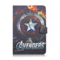 Wholesale Ipad Ii Skins - For Ipad Mini 1 2 3 tablet Cartoon Avengers 2 II TPU Leather Wallet Case Pouch Bag Stand Cover skin 1pcs
