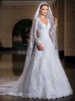 Wholesale Elegant Bridal Sashes - C.V Elegant V neck A line Lace Appliques Wedding Dresses Long Sleeve Sequied Beading Illusion Bridal Formal Dresses W0046