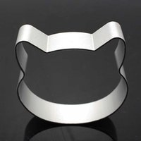 Wholesale Cookie Cutter Sugarcraft - Wholesale- Cat Head Shaped Christmas Kitchen Tools Aluminium Alloy Fondant Cookie Cake Sugarcraft Plunger Cutter Free Shipping