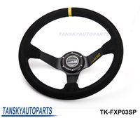 Wholesale Leather Sports Steering Wheels - Tansky - High Quality SP 350mm 14inch Deep Dished Sport Racing Suede Leather Alloy Steering Wheel DRIFTING TK-FXP03SP
