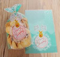 wholesale christmas cellophane bags online 100pcs green christmas elk cellophane open the top cookie bag