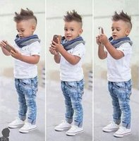 Wholesale T Fr - Boys Summer denim Clothing Sets Hot selling Kids boys T-Shirt + Denim Pants+scarf 3-Pieces clothing Set Children denim sets hight quality fr