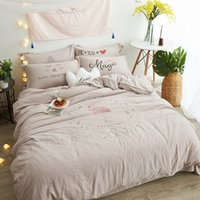 Wholesale King Comforter Sets For Cheap - Grey Washed Polyester Modern Simple Flamingo Pattern Bedding Set Cheap But Comfortable Duvet Cover Sets Fit for Kids adults