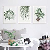 Wholesale Floral Picture Frames - Nordic Minimalist Watercolor Green Plant Leaf Posters A4 Living Room Wall Art Canvas Painting Home Decor Print Pictures No Frame