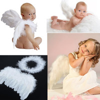 Wholesale infant fairy - 1 set New Infant Newborn Baby Kids Angel Fairy Feather Wing Costume Photo Prop for Children's Day Gift Present Free Ship