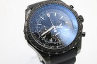 Wholesale Pointer Quartz - Luxury Brand Fine Quality Chronongraph Dark Black Dial Watches Black Leather Belt Black Skeleton White Pointer Three Tone Trend Watch