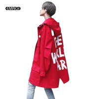 Wholesale women s trench coat pattern - Wholesale- Men Women High Street Hooded Trench Coat Letter Printing Fashion Hip Hop Casual Long Cardigan Trench Jacket