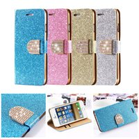 Wholesale Iphone 4s Rhinestone Leather - For Galaxy S6 S7 EDGE Luxury Glitter Bling Crystal Diamond PU Leather Wallet Case For Samsung S5 S4 Bling case iPhone 6 6s plus 5 5s 4 4s