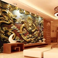 chinesisches zimmer tapete groihandel-Benutzerdefinierte 3D Wallpaper Holzschnitzerei Dragon Foto Tapeten chinesischen Stil Wandmalereien Kunst Zimmer Dekor Schlafzimmer Wohnzimmer Office Home Dekoration