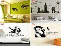 monroe adesivos venda por atacado-DHL Mix 5 estilos Pessoas adesivos de parede decalques Decoração Do Partido dança de Jackson Marilyn Monroe Hepburn olhos London city art papel de parede