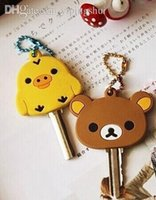 Wholesale Keys Caps Rubber - Wholesale-4Designs For Choice Kawaii San-X Rilakkuma Bear 4CM Rubber KEY Cover Chain Holder ; Pendant Hook Key Cap Case Coat Wrap Cover