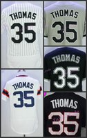 Wholesale White Sox Baseball Jersey Xl - Chicago White Sox Baseball 35 Frank Thomas Jersey Flexbase Pullover Pinstripe White Grey Black With 75th
