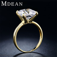 Wholesale Vintage Gold Engagement Ring - 18KGP Gold Filled Rings For Women Bid diamond Imitation engagement vintage Jewelry wedding ring Bijoux Accessories 18KR011