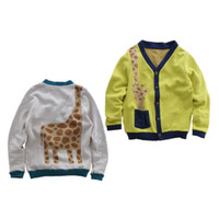 Wholesale Wholesale Terry Sweaters - boy sweater cardigan knitted Baby cartoon cardigan spring Autumn Cartoon Giraffe cardigan with pockets Cotton Terry Children Sweater