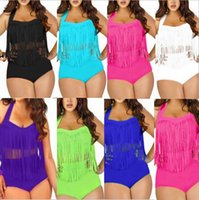 Wholesale Tassel Bikini Size Xl - 2015 Summer New Plus Size Sexy High Waist Women Bikini Tassels Bikinis Set Swimwear Boho Fringe Swimsuit Bathing Suits L XL 2XL 3XL