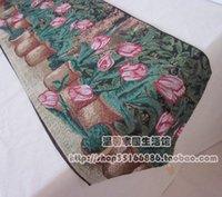 Wholesale Table Runner European Size - Wholesale-33*180 cm 33*245 cm fashion table runner tassels European high-grade Tulip linen cotton Jacquard various sizes