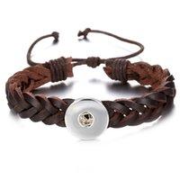 pu armbänder schnappen großhandel-Noosa Brocken 2 Farben PU Leder 18mm Druckknopf Charme Armband Für Frauen Druckknopf Schmuck