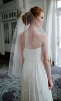 Wholesale Cheap Black Veils - Vintage Style Simple Tulle Wedding Veils Cut Edge Two Layers Elbow Length White   Ivory   Champagne   Black Bridal Veil Cheap with comb