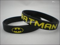 Al por mayor-1PC, envío libre, Impreso Batman Logo Muñequera, BATMAN silicio pulsera, Movie Memorabilia Muñequera, Negro, Adulto