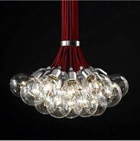 Wholesale Contemporary Red Led Light - Contemporary Loft Pendant Lamps Northern American Individuality Italy Pendent Light Red Wire Bubble Light Study Droplight Sitting Room Lamp