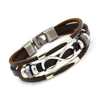 ingrosso braccialetto amicizia della mano-Vendita calda alta quailty Infinity Bracciale Bangle Vera pelle mano catena fibbia amicizia uomo donna bracciale 162476