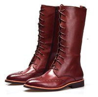 botas de rodilla color canela al por mayor-Estilo británico de la manera Marrón bronceado / Negro rodilla alta mens botas de cuero genuino para hombre botas de invierno al aire libre zapatos casuales