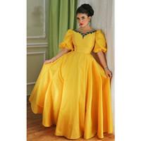 sarı akşam parti kısa elbiseleri toptan satış-Kısa Juliet Kollu Vintage Abiye Arapça Sarı Tafta Vestidos De Dresses A Hattı Emerad Yeşil Boncuklu Kristal Parti Balo Abiye 2016