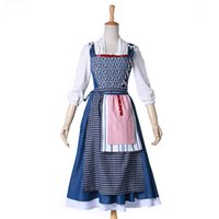 Beauty And The Beast Princess Belle Costumi Cosplay Villaggio Halloween Vestito blu Per donne e ragazze adulte