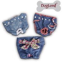 Wholesale Dog Jeans Pants - Free shipping!!!MQQ:10pcs per lot mixed size and mixed design Jeans Demin Design Washable dog pants Female Sanitary Pet Diapers