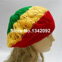 bonés de boinas verdes venda por atacado-Atacado-Rasta Tam Boina Hat Crochet Knit Reggae Marley Jamaica Rastafari Slouchy Dreadlock Cap-Vermelho Amarelo Verde