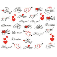 Wholesale Heart Nail Stickers - Wholesale- Pretty Letter Miss You Printing Love Heart for Nails Tips Decor of Water Transfer Decals 1Sheet Nail Art Sticker Free Shipping