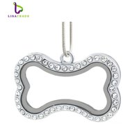 """Wholesale Wholesale Magnetic Necklaces - 2016 Hot !! Silver magnetic glass floating charm locket """"Bone""""+Rhainstone (chains included for free) LSFL039-1"""