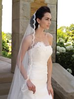 Wholesale Eyelash Lace Veil - Charming One Layer Bridal Veils With Lace Eyelash Edge And Pearls Chapel Length Tulle Wedding Veils With Free Comb