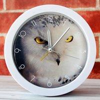 baykuş saatleri toptan satış-Baykuş küçük alarm saat masaüstü saat uzanmış ve karikatür tezgah izle