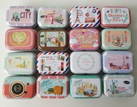 Wholesale candy pills - 32Pcs lot Small Tin Box Metal Storage tins Candy Box travel around the world Pill Box