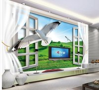 Wholesale Nature Print Paper - Papel de parede 3D window view of nature seagull TV backdrop non-woven wallpaper new large murals costomize size 2015239