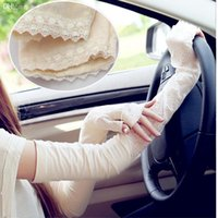 Wholesale Long Sleeve Gloves For Men - Wholesale-Flexible Women Arm Sleeves UV Sun Block Protection Gloves Double Layer Lace Sunscreen Long-sleeves Outdoor Clothes For Driving